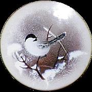 SOLD Vintage Norman Brumm Enamel On Copper Plate Bird Plate