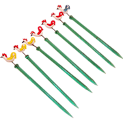 SOLD Vintage Set Of Seven Glass Hors D' oeuvre Toothpicks Roosters