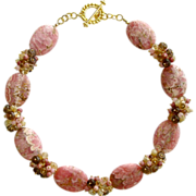 Rhodochrosite Slices Necklace - Champagne Citrine, Rhodonite, Smokey Quartz, Raw Herkimer Diam