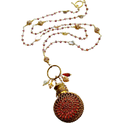 Mystic Garnet Cultured Keshi Pearls Cranberry Glass Chatelaine Scent Bottle Necklace - Alora .