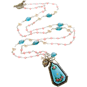 Pink Agate Apatite Cultured Pearls Heirloom Guilloche Scent Bottle Necklace - Adaline Necklace