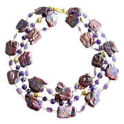 Purple Jumbo Square Cultured Pearls Faceted Amethyst Triple Strand Necklace - Amelie Necklace