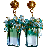 Blue Green Emerald Cut Ametrine Cluster Earrings - Bella II Earrings