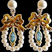 SOLD Cultured Pearl Bow Earrings - Cassandra Earrings