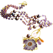 Amethyst Stalactite Necklace - Amethyst Cultured Pearls Prasiolite -  Charmed I'm Sure VI Ne