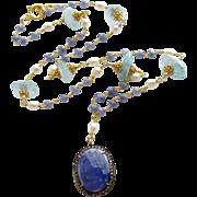 Tanzanite Pave Diamond Aquamarine Nuggets Layering Necklace- Cerelia Necklace