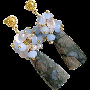 Blue Rhyolite, Periwinkle Blue Chalcedony & Rose Quartz Cluster Earrings - Jillie Earrings