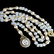 Butterfly Kaleidoscope Heirloom Silver Paste Locket Blue Chalcedony Scorolite Necklace - ...