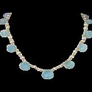 Carved Aquamarine Shells Cultured Seed Pearls Choker Necklace - Les Coquilles de la Mer Neckla