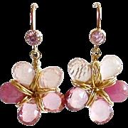 SOLD Pink Sapphire Pink Topaz Rose Quartz Flower Earrings - Linnea Earrings