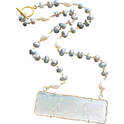 "Mother-of-Pearl ""M"" Monogram Gaming Counter Mystic Labradorite Necklace - L'offre III Neck"