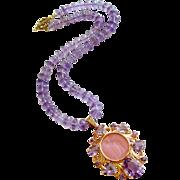 Amethyst Venetian Glass Intaglio Necklace - Montepulciano Choker Necklace