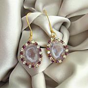 Pink Geode Druzy Earrings Vintage Amethyst Colored Crystal Rhinestone Earrings - Panisi Earrin