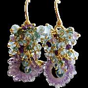 Amethyst Stalactite Cluster Earrings - Seanna Earrings