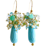Turquoise Dyed Stone Opal Apatite Prasiolite Blue Topaz Chrysoprase Cluster Earrings - Summer