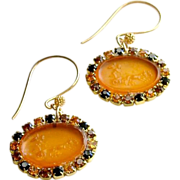 Venetian Glass Cherub Intaglio Earrings - Rhinestone Crystals - Simona Earrings