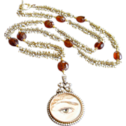 Lover's Eye Necklace - 9 karat Gold Cultured Pearl Mourning Locket Cultured Seed Pearl ...
