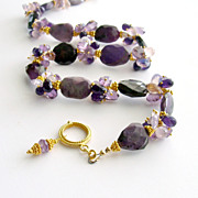 Sugilite Slabs Necklace Amethyst Lavender Opal Rose Quartz- Sonia Necklace