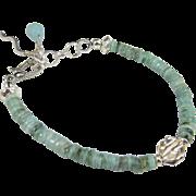 Bracelet ~ LEAVING OZ ~ Emeralds, Sterling Silver, Amazonite