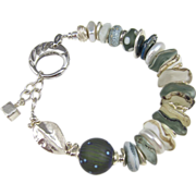 SOLD Bracelet ~ HALL OF WHISPERS ~ Designer Artisan Lampwork, CF Pearls, Sterling Silver