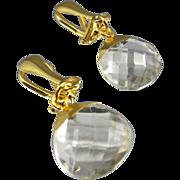 Clip-on Drop Earrings ~ NIGHTLITES ~ Crystal Quartz, 22KT Gold & Vermeil