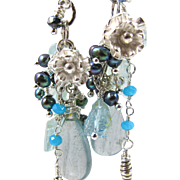Drop Earrings ~ SILVER BELLS & COCKLE SHELLS ~ Aquamarine, Many Blue Gemstones, Fine & Sterlin