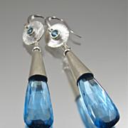 SOLD Earrings ~ BLUE MOON ~ Aqua Blue Quartz & Aquamarine
