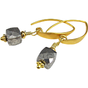 Drop Earrings ~ THE DOWRY ~ White Pyrite, Vermeil