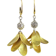Drop Earrings ~ GOLDEN CANARIES ~ Swarovski Crystal, Vermeil, Gold Fill