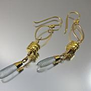 SALE Earrings ~ GILDED LANTERNS ~ Aquamarine, 22KT Gold Leaf,Vermeil, Bronze