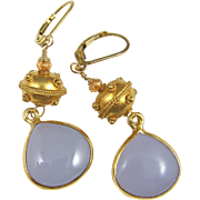 Drop Earrings ~ THE LILACS ARE IN BLOOM AGAIN ~ Lilac Chalcedony, Vermeil, Gold-Fill, Hessonit