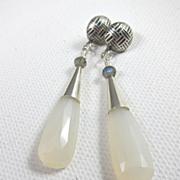SALE Drop Earrings ~ MILKY WAY ~ White Chalcedony, Sterling Silver, Labradorite