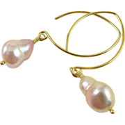 Drop Earrings ~ PRIMA DONNA ~  Baroque CF Pearls, Vermeil