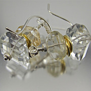 SOLD Earrings ~ ROCK CITY ~ White Topaz & Citrine Nuggets - Red Tag Sale Item