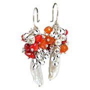 Cluster Earrings ~ RED TYGER ~ CF Pearls, Red Coral, Carnelian, Sterling Silver