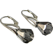 Leverback Drop Earrings ~ SATIN RAIN ~ Swarovski Crystal, Sterling Silver Leverbacks