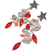 Drop Earrings ~ DANCE OF THE STARFISH ~ Coral, CF Biwa Pearls, Sterling Silver