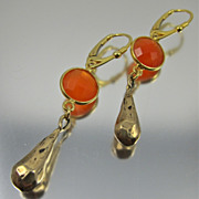 REDUCED Drop Earrings ~ HOT FLASH ~ Carnelian, Bronze, Vermeil