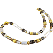Necklace ~ THE DOWRY ~ Smoky Quartz, Moonstone, Cultured Freshwater Biwa Pearls, Vermeil, ...