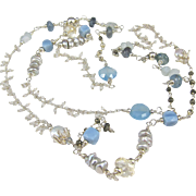 Long Necklace ~ CAROUSEL WITH BLUE ~ Peruvian Opal, Lemon Quartz Moonstone, Pyrite, Chalcedony