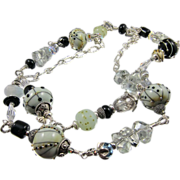 SOLD Long Necklace ~ DRY MARTINI ~ Signature Style, Artisan Designer Lampwork, Prasiolite, Ste