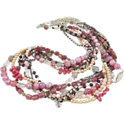 SOLD Long Multi-Strand Bib Necklace ~ FLAMINGO HIGHWAY ~ Tourmaline, Rhodonite, Pink Opal, Gar