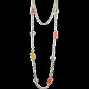Station Necklace ~ FIZZY POP ~ Fine Silver, Designer Lampwork, Sterling Silver