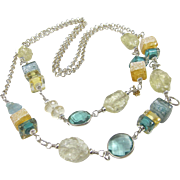 Long Necklace ~ HARD LEMONADE ~ Citrine, Aquamarine, Designer Lampwork, Sterling Silver