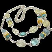 SOLD Long Necklace ~ HARD LEMONADE ~ Citrine, Aquamarine, Designer Lampwork, Sterling Silver