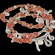 Long Necklace ~ THE KHALEESI ~ Sunstone, Thai Hill Tribes & Fine Silver, CF Grey ...