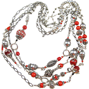 80 Inch Body Necklace ~ MAJESTY ROUGE ~ Coral, Bali Silver, Grey CF Pearls, Sterling Silver, A