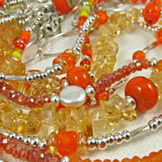 SOLD Necklace ~ OH! ORANGE! ~ Multi-Strands in Glorious Color - Red Tag Sale Item