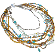 Multi-Strand Long Necklace ~ THE OPEN ROAD ~ Seed Beads, Agate, Turquoise, Amazonite, Sterling