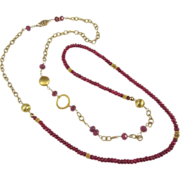 SOLD Asymmetric Necklace ~ FLIGHT OF RUBIES ~  Rubies, Vermeil, Gold-Fill